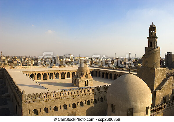 el, mezquita, Ibn, Tulun - csp2686359