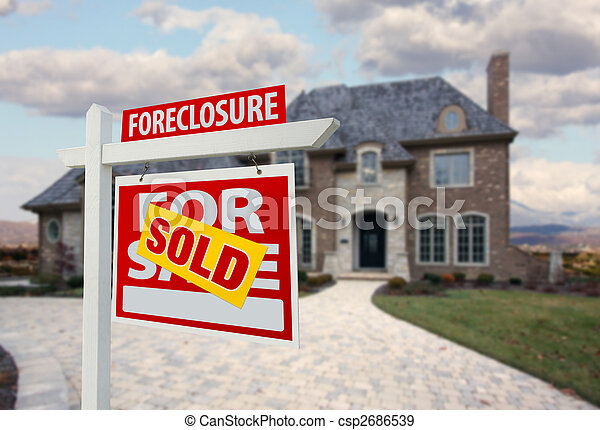 Sold Foreclosure Home For Sale Sign and House - csp2686539