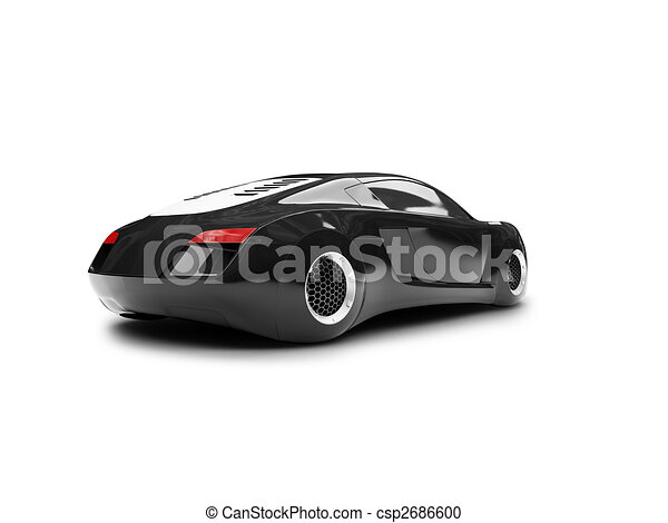 Stock Illustration Of Isolated Black Super Car Back View