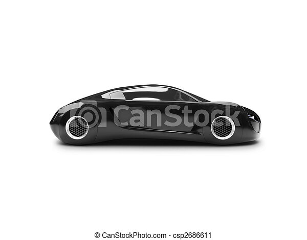 Clipart Of Isolated Black Super Car Side View Black Car On A
