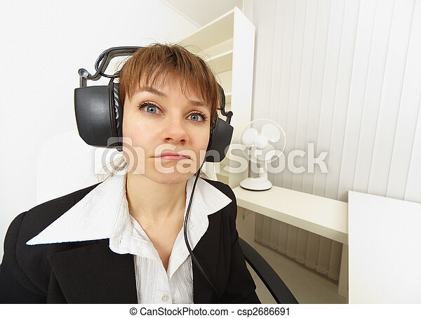 Comical girl in big stereos ear-phones - csp2686691