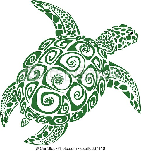 Vector Clip Art of Green Sea Turtle - Green sea turtle (Konu ...