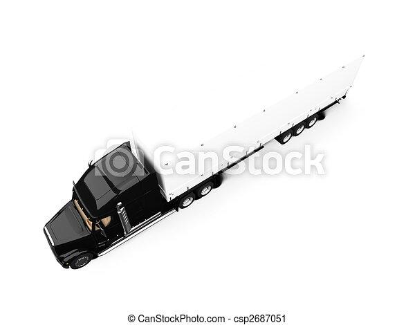 Black semi truck on white background - csp2687051