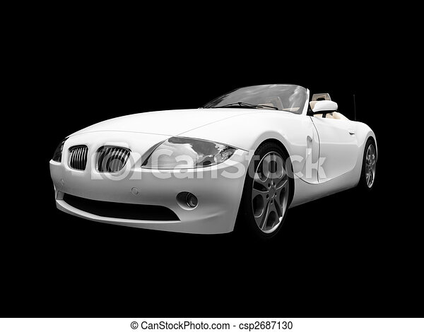 isolated white car front view 01 - csp2687130
