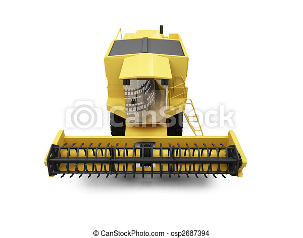 Clipart of Combine Harvester - isolated combine harvester on a ...
