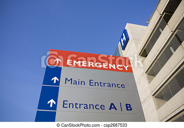 醫院, 現代, 緊急事件, 簽署 - csp2687533