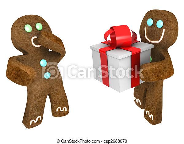 Stock Illustration of Gingerbread man present - Gingerbread man giving ...