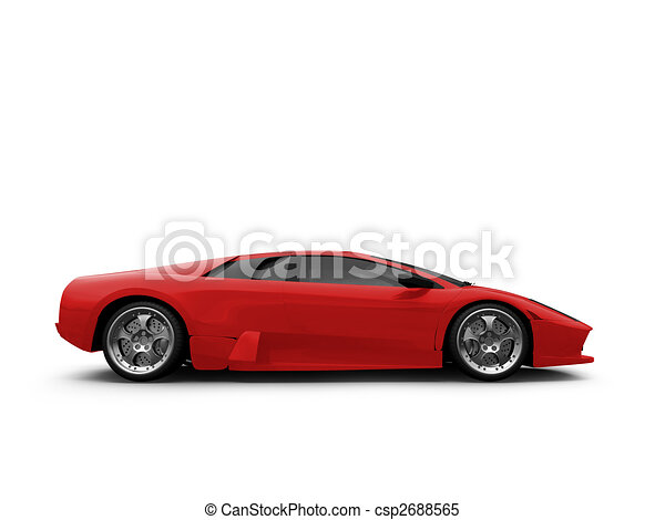 Ferrari isolated red side view  Race Car Side View Clipart