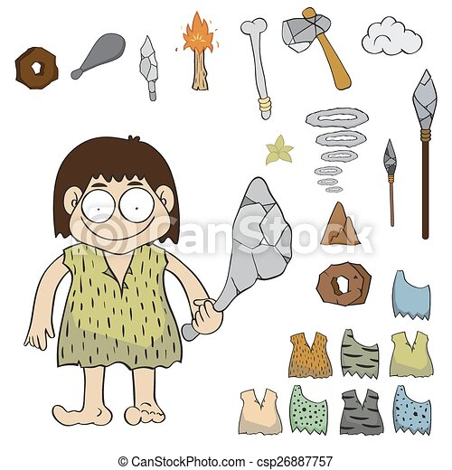 Clipart Vector of Stone age people cartoon vector, - Stone age ...