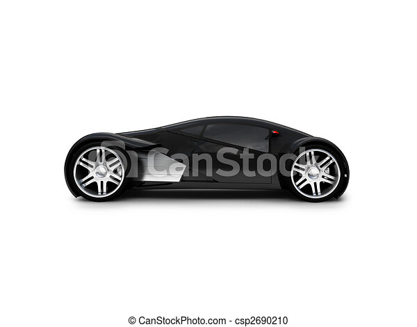 Stock Illustration Of Isolated Black Super Car Side View Black
