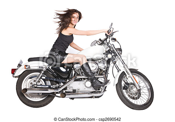 isolated woman on motorbike - csp2690542
