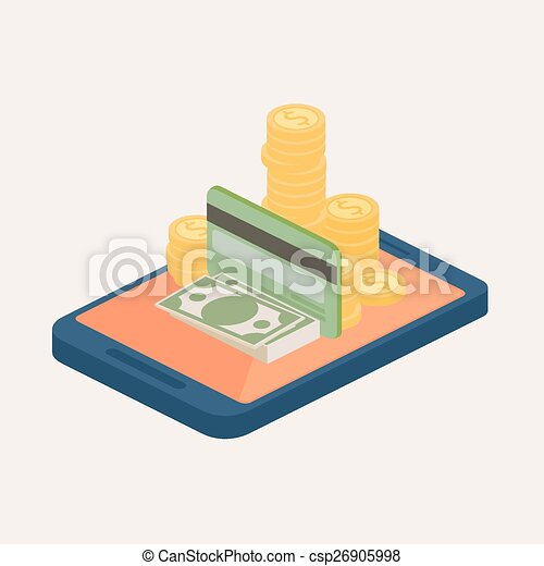 Online Banking Clipart Mobile Money or Online Banking