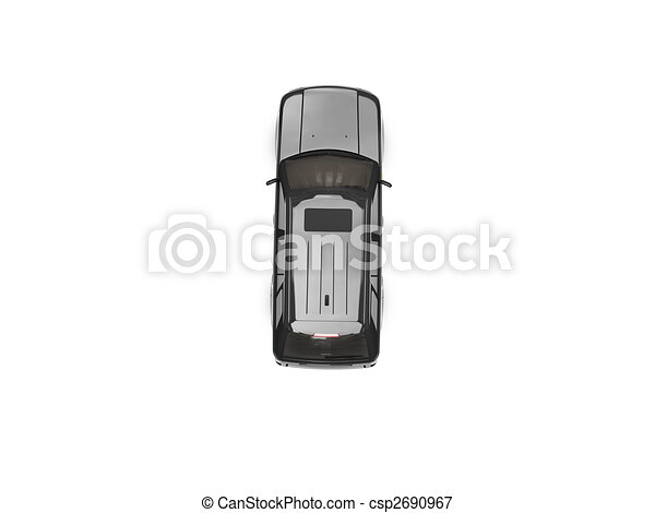 isolated black car top view - csp2690967
