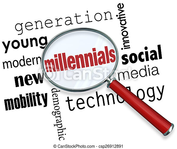 Millennials Magnifying Glass Words Young Generation Technology S - csp26912891