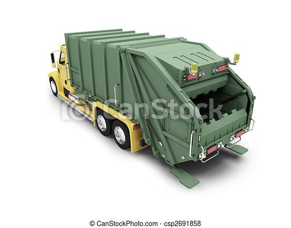 isolated trash dump car on white background - csp2691858