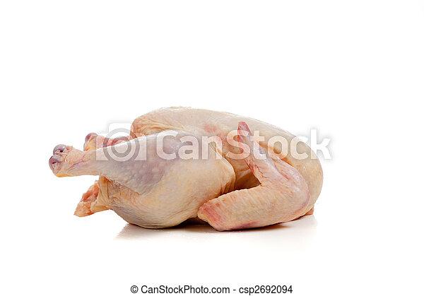 Raw, whole chicken on white - csp2692094