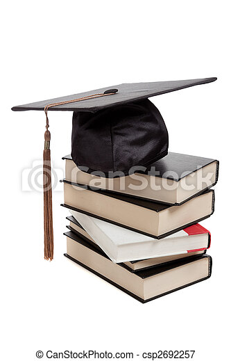 Graduation cap on top of a stack of books on white - csp2692257