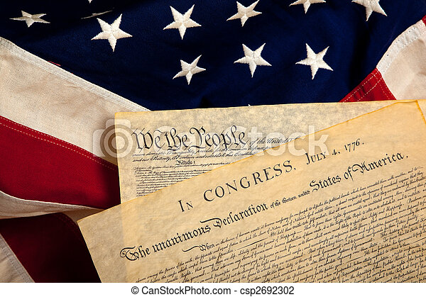 American historic documents on a flag - csp2692302