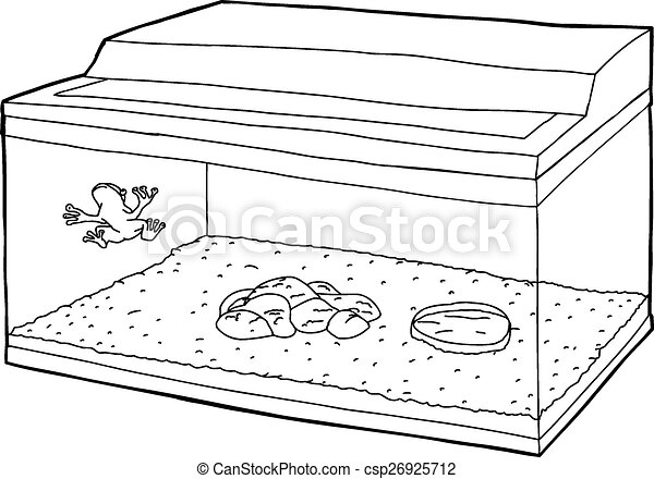 Vector Clip Art of Outline of Frog in Fish Tank - Outline cartoon of ...