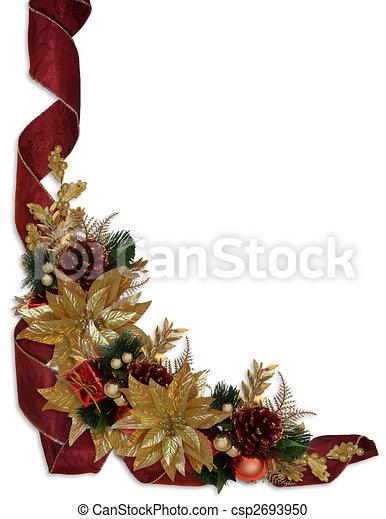 Christmas border ribbons gold poinsettias - csp2693950