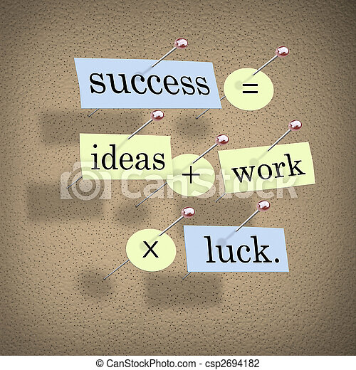 Success Equals Ideas Plus Work Times Luck - csp2694182