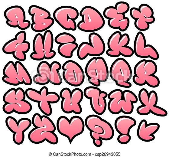 Clipart Vector of graffiti bubble fonts gloss outline - graffiti ...