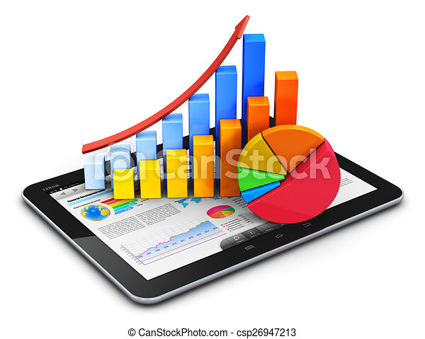 Mobile finance, accounting and statistics concept - csp26947213