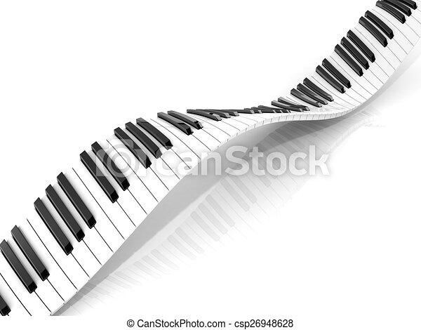 Wavy abstract piano keyboard