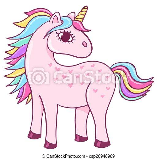 Clip Art Vecteur de mignon, licorne - Cute, unicorn ...