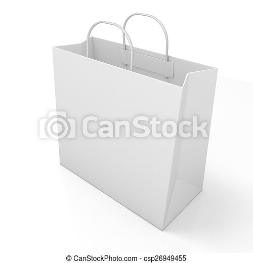 Stock Illustrations of Empty shopping paper bag, isolated on white ...
