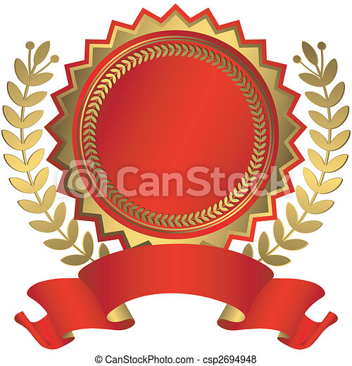 Red and golden award with ribbon (vector) - csp2694948