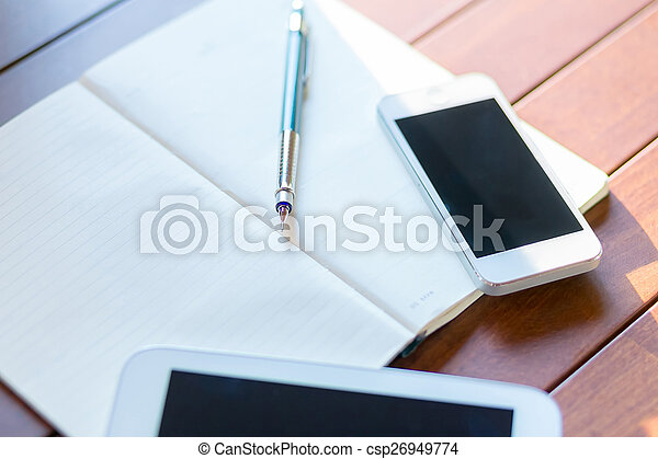 workplace with digital tablet