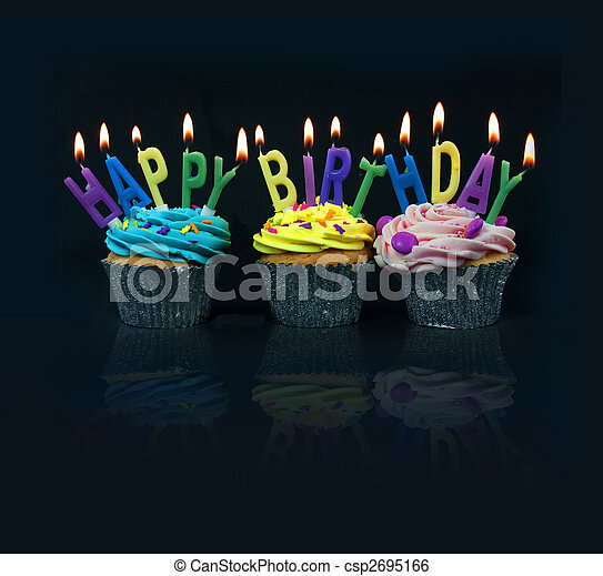 cupcakes spelling out happy birthday - csp2695166