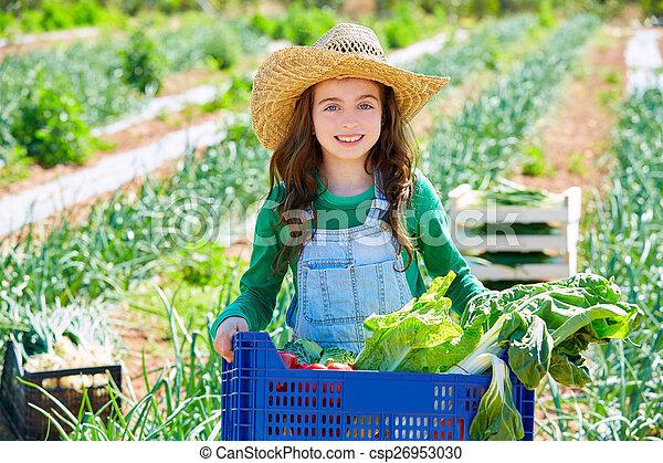 litte, legumes, agricultor, menina, colheita, criança - csp26953030