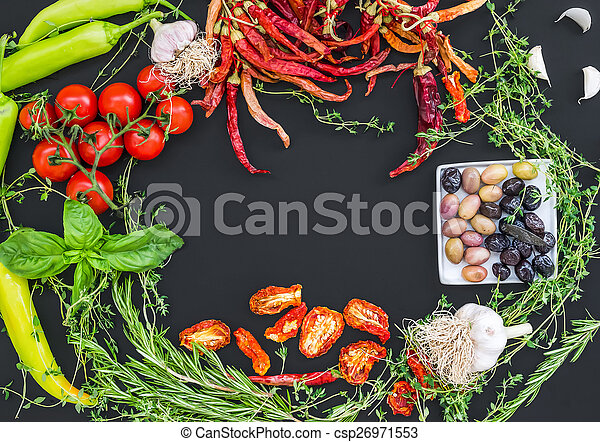 Mediterranean vegetable set consisting of garlic, chrry-tomatoes