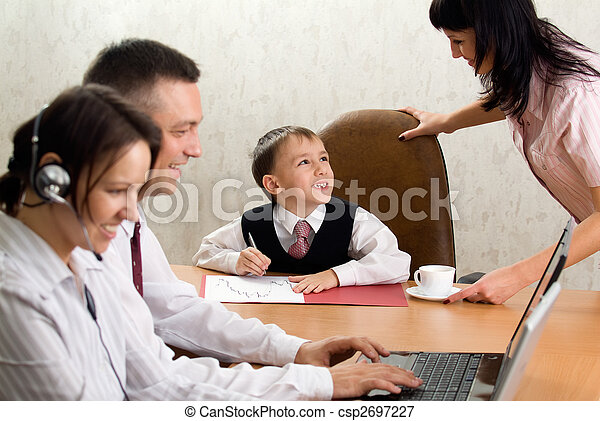 Cute kid in the role of an office manager - csp2697227