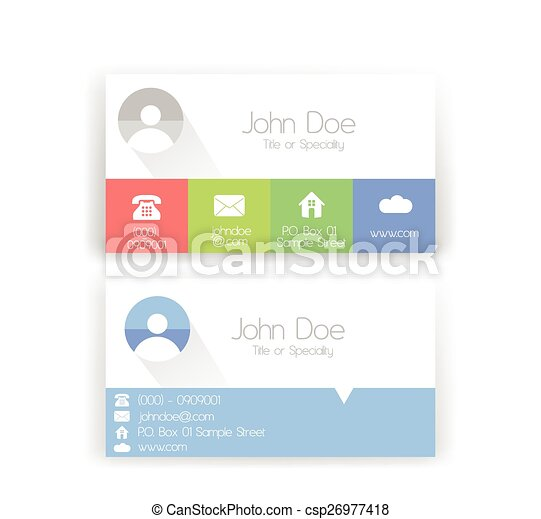Set of Two Flat Metro Style Business Card with Soft Colors - csp26977418