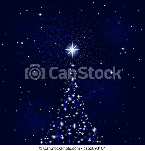 Peacefull starry night with Christmas tree - csp2698104