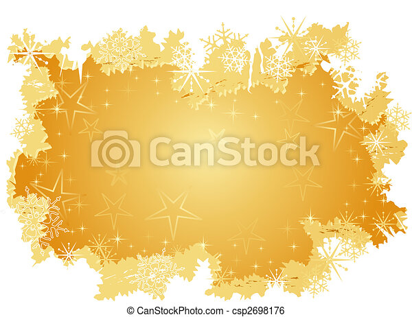 Golden grunge background with stars and snow flakes - csp2698176