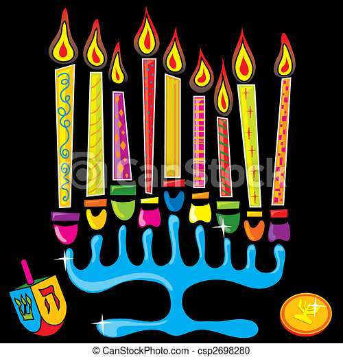 Happy Chanukah Menorah - csp2698280