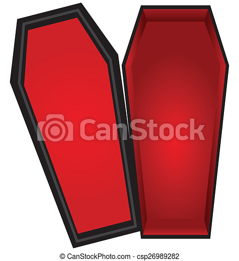 Stock Illustration of Open coffin with a red cloth inside the lid ...