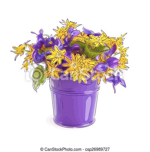 Vector Illustration Of Small Bouquet With Meadow Flowers In A