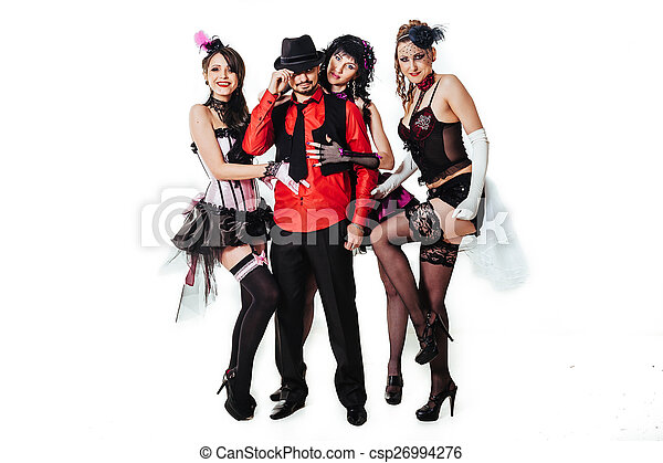 Stock Photo of Men with Glamorous Sexy Moulin Rouge girls wearing ...