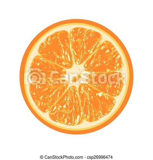 Fresh orange isolated on white background - csp26996474