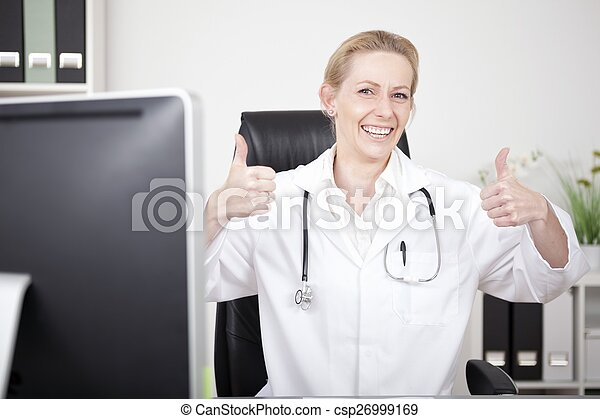 Happy Female Doctor Showing Two Thumbs Up