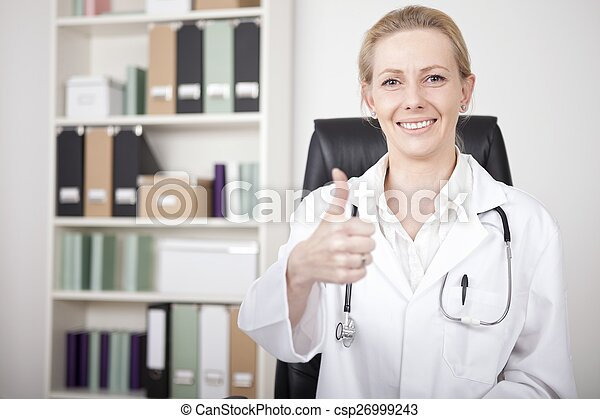 Happy Female Doctor Showing Thumbs Up Sign