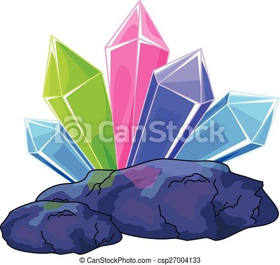 Vectors of Quartz crystal - Illustration of a multi ...
