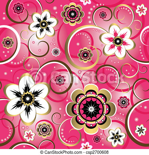 Seamless floral decorative pink pattern (vector) - csp2700608