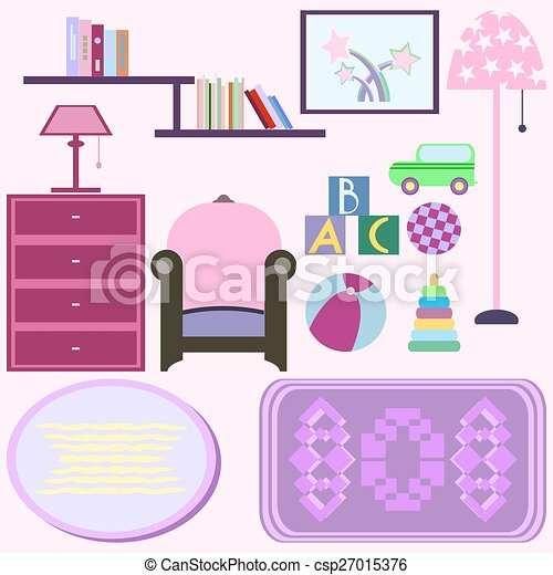 Vectors Illustration of Baby room with pink furniture. Nursery ...