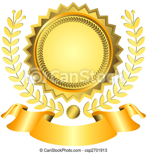 Golden award with ribbon (vector)  - csp2701913
